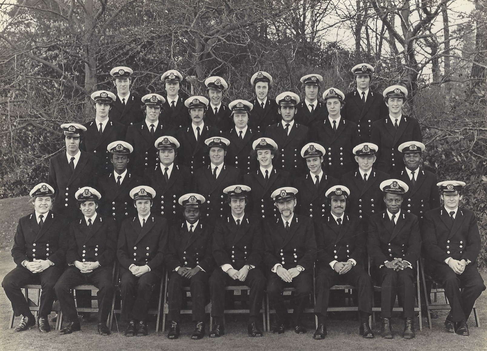 David Peel, pictured centre of the second to bottom row, graduating from Warsash Nautical College